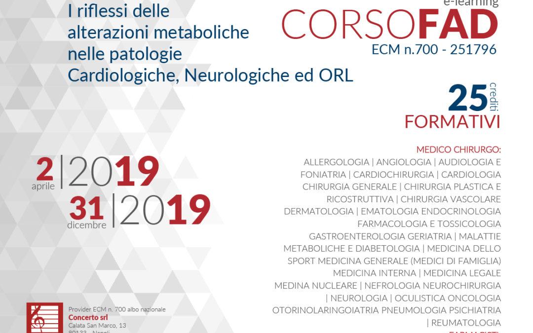I riflessi delle alterazioni metaboliche nelle parologie Cardiologiche, Neurologiche ed ORL